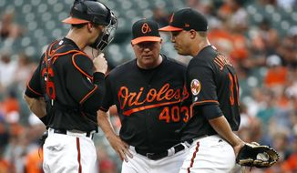 Baltimore Orioles catcher Caleb Joseph, left, and pitching coach Roger McDowell (40) speak with starting pitcher Ubaldo Jimenez after Houston Astros' Marwin Gonzalez doubled in the first inning of a baseball game in Baltimore, Friday, July 21, 2017. Houston scored three runs against Jimenez in the first. (AP Photo/Patrick Semansky)