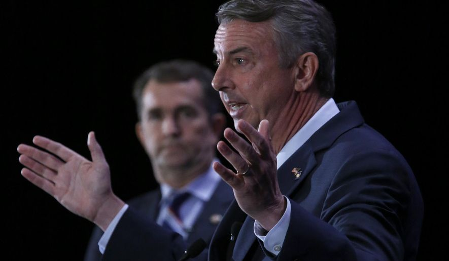 Republican gubernatorial nominee Ed Gillespie (right) is chasing the right, and his Democratic rival, Ralph Northam, is tacking left. Both are hoping to stir enthusiasm in a race that appears to come down to Virginia's base voters. (Associated Press/File)