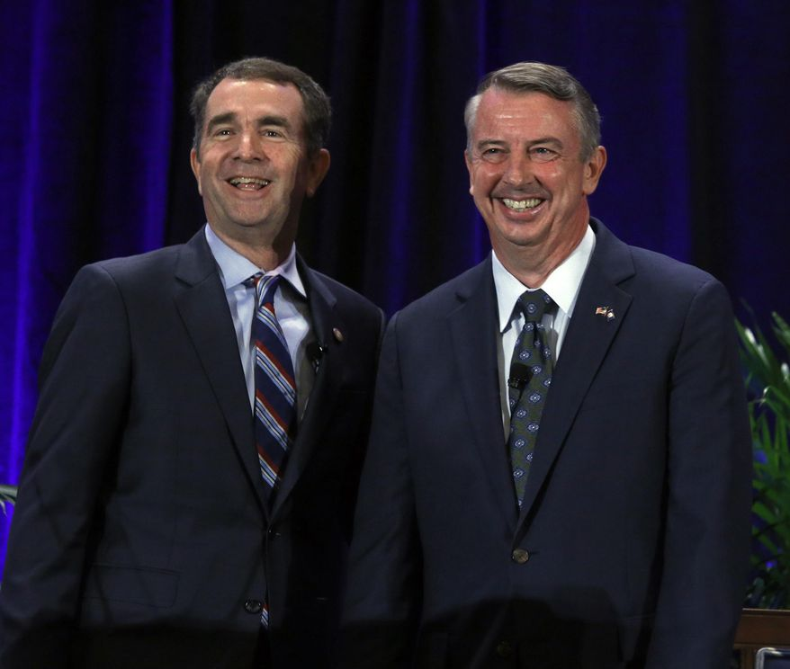 Democratic gubernatorial candidate Lt. Gov. Ralph Northam (left) and Repblican gubernatorial candidate Ed Gillespie will have their second of three scheduled debate showdowns Tuesday in Northern Virginia. (Associated Press/File)