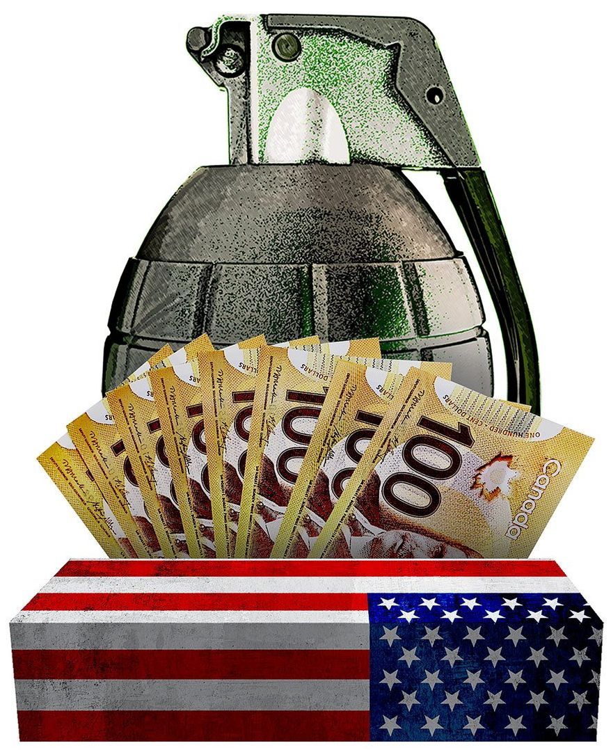 Misdirected Canadian Money Illustration by Greg Groesch/The Washington Time