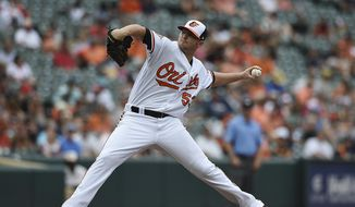 Baltimore Orioles pitcher Zach Britton delivers against the Houston Astros in the ninth inning of a baseball game, Sunday, July 23, 2017, in Baltimore. The Orioles won 9-7. (AP Photo/Gail Burton)