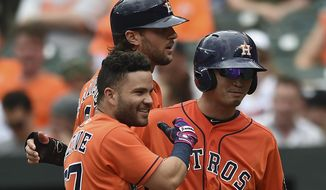 Houston Astros' Jose Altuve, left, is greeted by Norichika Aoki, right, and Jake Marisnick after hitting a three run home run against the Baltimore Orioles in the third inning of a baseball game, Sunday, July 23, 2017, in Baltimore. (AP Photo/Gail Burton)