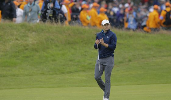 Jordan Spieth of the United States makes his way to the 18th green during the final round of the British Open Golf Championship, at Royal Birkdale, Southport, England, Sunday July 23, 2017. (AP Photo/Alastair Grant)