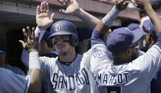 San Diego Padres' Wil Myers, center, is congratulated by teammates after hitting a solo home run against the San Francisco Giants during the first inning of a baseball game in San Francisco, Sunday, July 23, 2017. (AP Photo/Jeff Chiu)