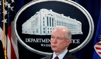 """""""Our support remains resolute for Attorney General Sessions,"""" said Jonathan Thompson, director of the National Sheriffs' Association. """"We have a great deal of respect for him,"""" he said. President Trump chided Mr. Sessions on Twitter on Monday. (Associated Press)"""