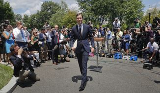 White House senior adviser Jared Kushner walks away from the podium after speaking to reporters outside the White House in Washington, Monday, July 24, 2017, after meeting on Capitol Hill behind closed doors with the Senate Intelligence Committee on the investigation into possible collusion between Russian officials and the Trump campaign. (AP Photo/Pablo Martinez Monsivais)