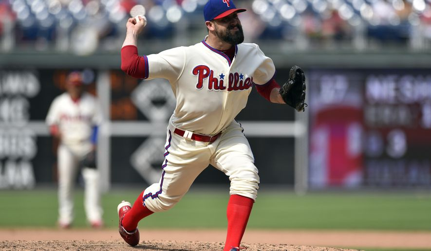Philadelphia Phillies' Pat Neshek in action during a baseball game against the Milwaukee Brewers, Sunday, July 23, 2017, in Philadelphia. (AP Photo/Derik Hamilton)