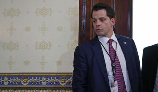 White House Communications Director Anthony Scaramucci, left, stands before President Donald Trump speaks during an event about healthcare in the Blue Room of the White House, Monday, July 24, 2017, in Washington. (AP Photo/Alex Brandon)