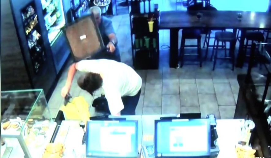 A Starbucks robbery in Fresno, California, was thwarted on July 20, 2017, when customer Cregg Jerry used one of the establishment's chairs as a weapon. (KPIX-5 CBS San Francisco screenshot)