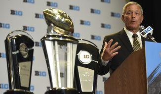 Iowa NCAA college football head coach Kirk Ferentz speaks at Big Ten Media Day in Chicago, Monday, July 24, 2017. (AP Photo/G-Jun Yam)