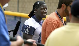Dallas Cowboys wide receiver Lucky Whitehead leaves practice at the NFL football team's training camp in Oxnard, Calif., Monday, July 24, 2017. (AP Photo/Michael Owen Baker)