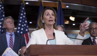 """In this July 20, 2017 photo, House Minority Leader Nancy Pelosi, D-Calif., flanked by, Rep. Frank Pallone, D-N.J., the ranking member of the House Energy and Commerce Committee, left, and Rep. Bobby Scott, D-Va., the ranking member on the House Committee on Education and the Workforce, discusses the Republican efforts to replace """"Obamacare,"""" during a news conference on Capitol Hill in Washington.  Democrats are trying to bounce back from their November election losses and rebrand themselves, rolling out a populist new agenda under the slogan """"A Better Deal.""""   (AP Photo/J. Scott Applewhite)"""