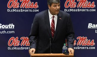 Mississippi NCAA college football interim head coach Matt Luke speaks at a press conference in Oxford, Miss. on Monday, July 24, 2017. (Bruce Newman, Oxford Eagle via AP)