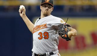 Baltimore Orioles starting pitcher Kevin Gausman throws during the first inning of a baseball game against the Tampa Bay Rays, Monday, July 24, 2017, in St. Petersburg, Fla. (AP Photo/Mike Carlson)