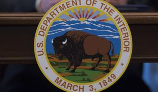 FILE - In this March 29, 2017 file photo, Interior Secretary Ryan Zinke speaks at the Interior Department in Washington. The Senate is on track to confirm President Donald Trump's nominee for the No. 2 job at the Interior department over Democratic objections. David Bernhardt is a former lobbyist who once sued the department, hardly a fit with Trump's call to drain the swamp. (AP Photo/Molly Riley)