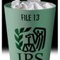 Illustration on the carelessness of the IRS by Alexander Hunter/The Washington Times