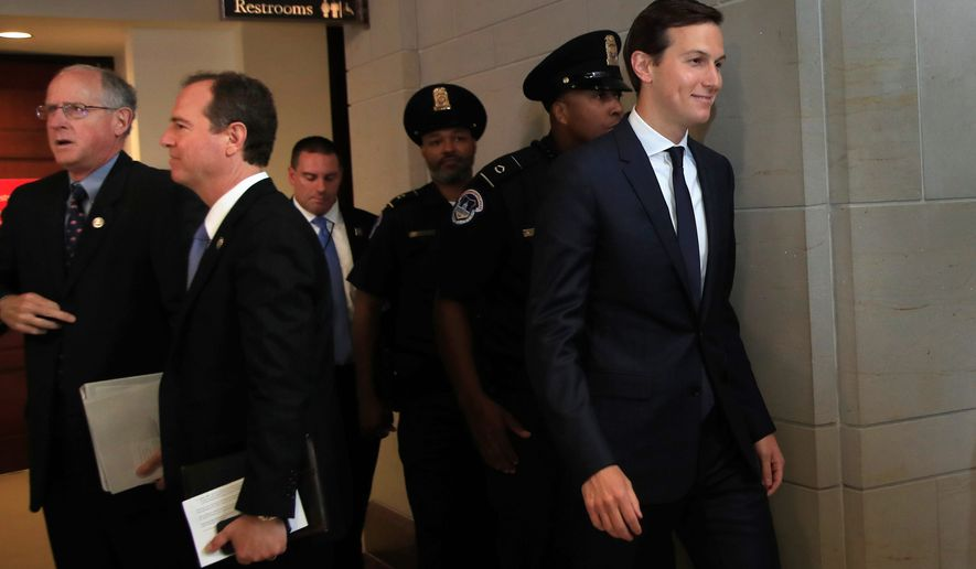 White House adviser Jared Kushner answered questions about Russia collusion behind closed doors as the Senate Judiciary and intelligence committees vie for access to Mr. Kushner and Paul Manafort, President Trump's former campaign manager. (Associated Press)
