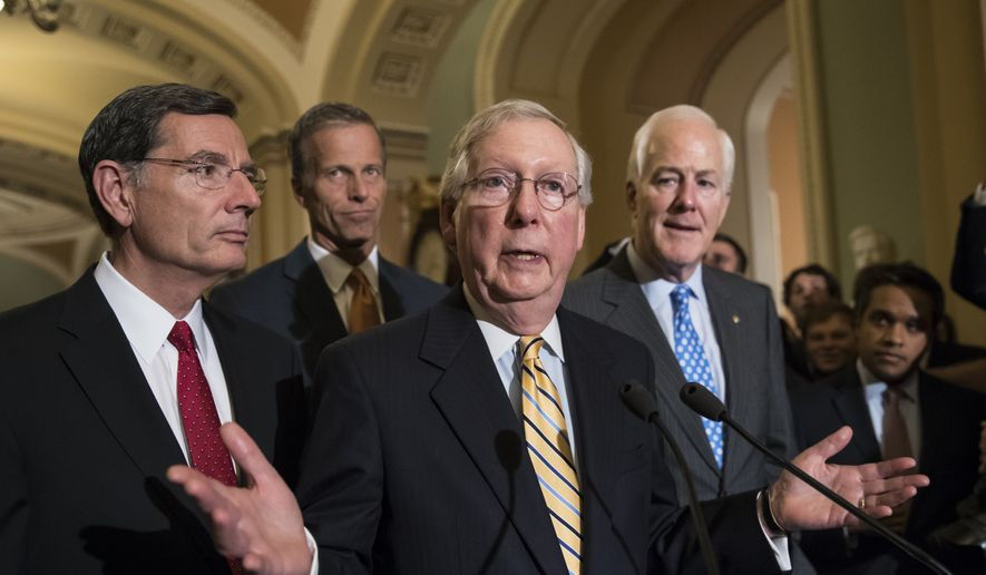 Senate Majority Leader Mitch McConnell of Ky., joined by, from left, Sen. John Barrasso, R-Wyo., Sen. John Thune, R-S.D., and Senate Majority Whip John Cornyn of Texas, speaks with reporters on Capitol Hill in Washington, Tuesday, July 25, 2017, after Vice President Mike Pence broke a 50-50 tie to start debating Republican legislation to tear down much of the Obama health care law. (AP Photo/J. Scott Applewhite)