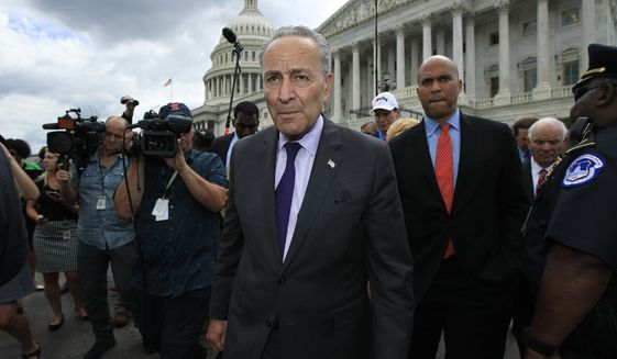 Senate Majority Leader Chuck Schumer of N.Y. leads fellow Democratic Senators to meet supporters outside the Capitol in Washington, Tuesday, July 25, 2017, after the Senate voted to start debating Republican legislation to tear down much of the Obama health care law. (AP Photo/Manuel Balce Ceneta)