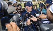 Dallas Cowboys owner Jerry Jones discusses the team's discussion to release wide receiver Lucky Whitehead after NFL football training camp in Oxnard, Calif., Tuesday, July 25, 2017. (AP Photo/Gus Ruelas)