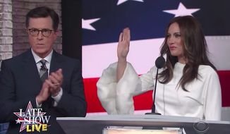 "Actress Laura Benanti, who debuted her impression of first lady Melania Trump one year ago on CBS's ""The Late Show,"" suggested to host Stephen Colbert Monday night that there's a limit to her empathy when it comes to Mrs. Trump. (CBS)"