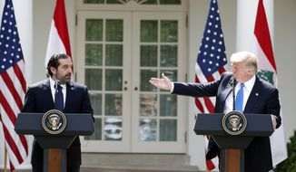 President Donald Trump speaks during a joint news conference with Lebanese Prime Minister Saad Hariri in the Rose Garden of the White House, Tuesday, July 25, 2017, in Washington. (AP Photo/Alex Brandon)