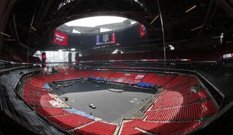 The field is shown during a tour of Mercedes Benz Stadium, the new home of the Atlanta Falcons football team and the Atlanta United soccer team, Tuesday, July 25, 2017, in Atlanta. (AP Photo/John Bazemore)