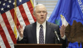 In this July 12, 2017, file photo, Attorney General Jeff Sessions speaks to federal, state and local law enforcement officials about sanctuary cities and efforts to combat violent crime, in Las Vegas. (AP Photo/John Locher, File)
