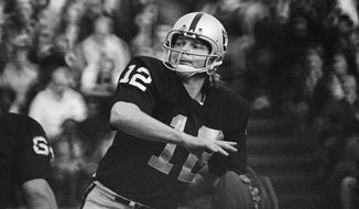 FILE - In this 1974 file photo, Oakland Raiders quarterback Ken Stabler looks to pass. Research on the brains of 202 former football players has confirmed what many feared in life _ evidence of chronic traumatic encephalopathy, or CTE, a devastating disease in nearly all the samples, from athletes in the NFL, college and even high school. Stabler is among the cases previously reported. (AP Photo/File)