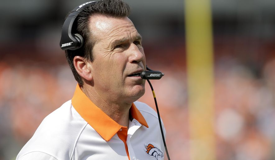 FILE - In this Sept. 13, 2015, file photo, then-Denver Broncos head coach Gary Kubiak watches during the first half of an NFL football game against the Baltimore Ravens, in Denver. A person with knowledge of the hire has told The Associated Press that Gary Kubiak, who stepped down as Denver's head coach because of health concerns seven months ago, is returning to the Broncos in a scouting capacity. The person, who spoke on condition of anonymity Tuesday, July 25, 2017, because the hire hadn't been announced, said Kubiak will serve as a senior personnel adviser, scouting college and pro players. (AP Photo/Jack Dempsey, File)