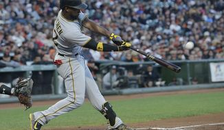 Pittsburgh Pirates' Andrew McCutchen hits a three-run home run off of San Francisco Giants pitcher Matt Cain during the second inning of a baseball game in San Francisco, Monday, July 24, 2017. (AP Photo/Jeff Chiu)
