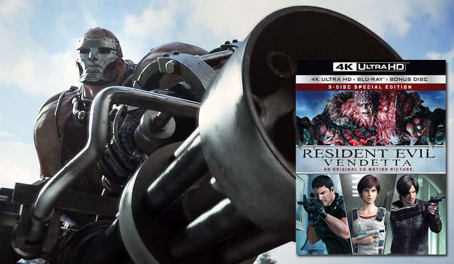 """Diego and his big gun from """"Resident Evil: Vendetta,"""" now available on 4K Ultra HD from Sony Pictures Home Entertainment."""