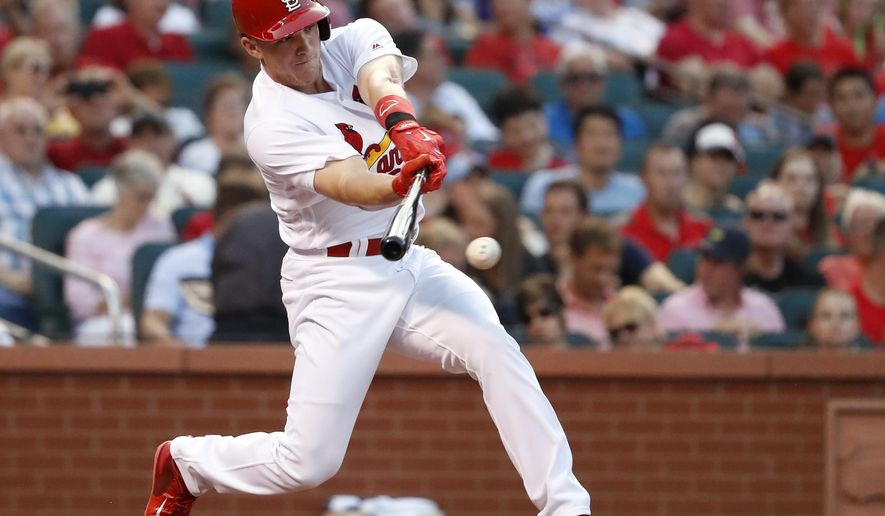 St. Louis Cardinals' Harrison Bader grounds out during his first major league at-bat, in the first inning of the teams baseball game against the Colorado Rockies on Tuesday, July 25, 2017, in St. Louis. (AP Photo/Jeff Roberson)