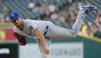 Kansas City Royals pitcher Danny Duffy throws against the Detroit Tigers in the first inning of a baseball game in Detroit, Tuesday, July 25, 2017. (AP Photo/Paul Sancya)