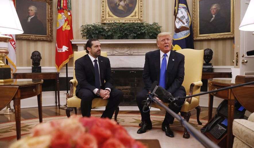 President Donald Trump meets with Lebanese Prime Minister Saad Hariri in the Oval Office of the White House in Washington, Tuesday, July, 25, 2017. (AP Photo/Pablo Martinez Monsivais)