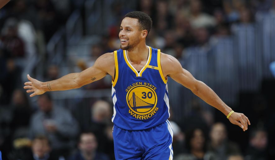 In this Nov. 10, 2016, file photo, Golden State Warriors guard Stephen Curry celebrates after hitting a 3-point basket and drawing a foul from the Denver Nuggets during the second half of an NBA basketball game, in Denver. (AP Photo/David Zalubowski, File)