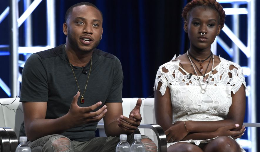 """Activist Kwame Rose, left, and youth organizer Makayla Gilliam-Price participate in the """"Baltimore Rising"""" panel during the HBO Television Critics Association Summer Press Tour at the Beverly Hilton on Wednesday, July 26, 2017, in Beverly Hills, Calif. (Photo by Chris Pizzello/Invision/AP)"""