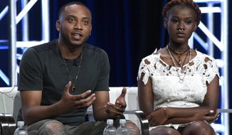 "Activist Kwame Rose, left, and youth organizer Makayla Gilliam-Price participate in the ""Baltimore Rising"" panel during the HBO Television Critics Association Summer Press Tour at the Beverly Hilton on Wednesday, July 26, 2017, in Beverly Hills, Calif. (Photo by Chris Pizzello/Invision/AP)"