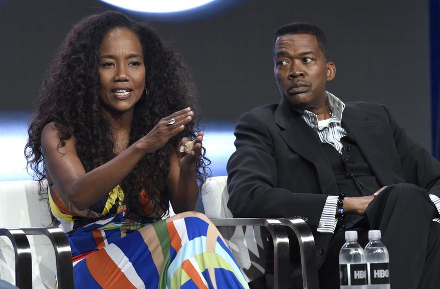 """Director/executive producer Sonja Sohn, left, and Baltimore. Lt. Col. Melvin Russell participate in the """"Baltimore Rising"""" panel during the HBO Television Critics Association Summer Press Tour at the Beverly Hilton on Wednesday, July 26, 2017, in Beverly Hills, Calif. (Photo by Chris Pizzello/Invision/AP)"""