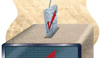 Hacking the Vote Illustration by Greg Groesch/The Washington Times