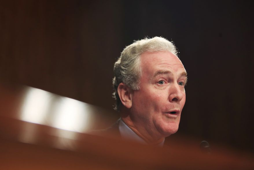 Sen. Chris Van Hollen, D-Md. questions Treasury Secretary Steven Mnuchin on Capitol Hill in Washington, Wednesday, July 26, 2017, during a Senate Appropriations subcommittee on the fiscal 2018 federal budget. (AP Photo/Manuel Balce Ceneta)