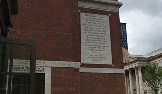 The facade of the Museum of the American Revolution in Philadelphia.  (Eric Althoff/The Washington Times)