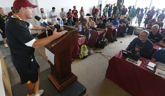 Washington Redskins head coach Jay Gruden gestures during a news conference at the start of NFL football training camp in Richmond, Va., Wednesday, July 26, 2017. (AP Photo/Steve Helber)