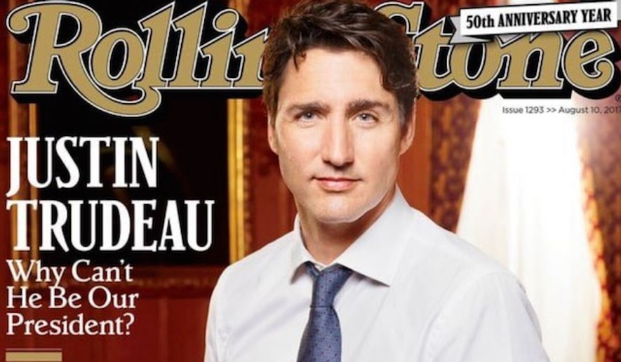 "On Sept. 17, 2017, the New York Times reported that Rolling Stone is being put up for sale by founder and publisher Jann Wenner. Shown here in this file photo is the magazine's August 2017 cover that asks readers the following question of Canadian Prime Minister Justin Trudeau: ""Why can't he be our President?"""
