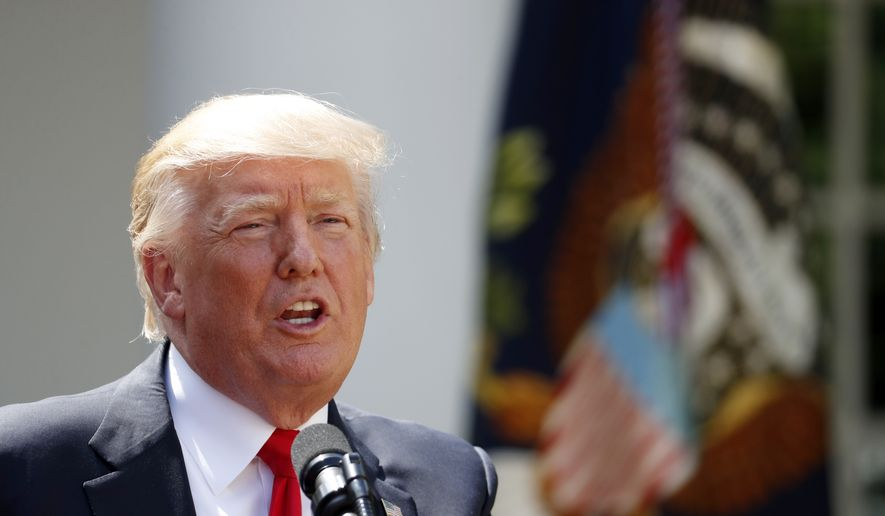 President Donald Trump speaks in the Rose Garden of the White House in Washington, Wednesday, July 26, 2017, during an event with the American Legion Boys Nation and the American Legion Auxiliary Girls Nation. (AP Photo/Alex Brandon)