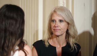 Counselor to the President Kellyanne Conway stands before President Donald Trump speaks in the East Room of the White House, Wednesday, July 26, 2017, in Washington. (AP Photo/Alex Brandon) ** FILE **
