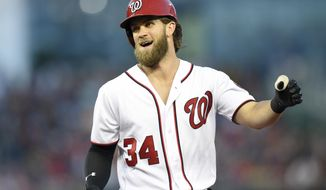 Washington Nationals' Bryce Harper reacts after he flew out during the fourth inning of the team's baseball game against the Milwaukee Brewers, Wednesday, July 26, 2017, in Washington. (AP Photo/Nick Wass)