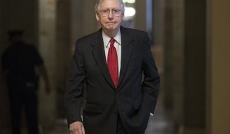 Senate Majority Leader Mitch McConnell of Ky. walks from his office to the Senate floor on Capitol Hill in Washington, Wednesday, July 26. (AP Photo/Carolyn Kaster)