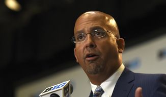 CORRECTS DATE - Penn State NCAA college football head coach James Franklin speaks at Big Ten Media Day in Chicago, Tuesday, July 25, 2017. (AP Photo/G-Jun Yam)