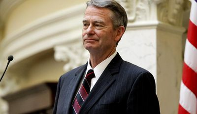 FILE - In this Monday, May 18, 2015, file photo, Idaho Lt. Gov. Brad Little listens to debate at the state Capitol building in Boise, Idaho. Gubernatorial hopeful Little outlined Wednesday, July 26, 2017, the first details of his economic plan to reduce regulations on Idaho companies and create more job opportunities for Idaho's young workers if elected governor in 2018. (AP Photo/Otto Kitsinger, File)